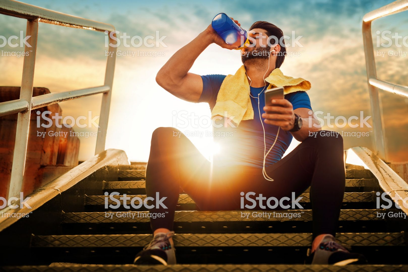 Picture of a young athletic man after training.